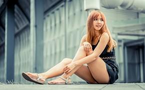 Картинка девушка, волосы, азиатка, милашка, хочет, ляжки, сандали, милые ножки