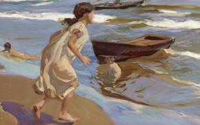 Картинка дети, лодка, картина, жанровая, Хоакин Соролья, Joaquin Sorolla y Bastida, Время Купания