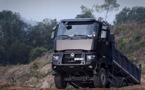 Картинка растительность, Renault, кузов, подъём, карьер, самосвал, трёхосный, Renault Trucks, K-series