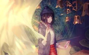 Картинка Девушка, Колокольчики, Vocaloid, Тюль