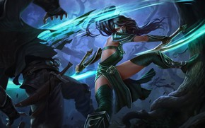 Картинка Girl, Fantasy, Art, Akali, League of Legends, Illustration, LoL, Swords, Game Art, Henukim, by Henukim