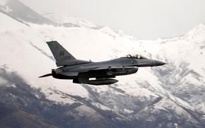 Картинка ВВС США, General Dynamics F-16 Fighting Falcon, лёгкий истребитель четвёртого поколения, Атакующий сокол, американский многофункциональный
