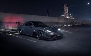Картинка свет, ночь, город, Mazda, RX7, mazda rx-7