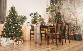 Картинка дом, стол, комната, игрушки, елка, Новый год, New Year, 2021