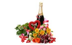 Картинка цветы, праздник, бутылка, розы, букет, сердечки, белый фон, шампанское, День святого Валентина, ленточка