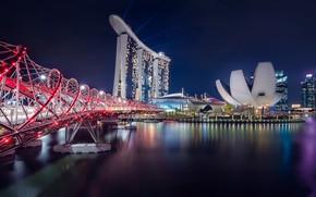 Картинка ночь, мост, город, Singapore