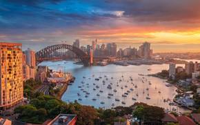 Картинка закат, мост, здания, дома, яхты, Австралия, залив, Сидней, гавань, Australia, Sydney, Harbour Bridge, Харбор-Бридж, Port …