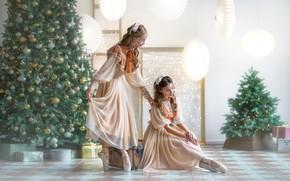 Картинка украшения, поза, девушки, комната, праздник, елка, Новый год, балерина, гирлянда, Бармина Анастасия