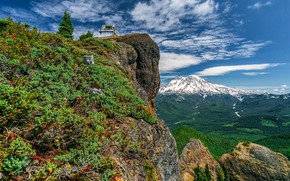 Картинка лес, горы, скала, Mount Rainier, Gifford Pinchot National Forest, Washington State, Штат Вашингтон, High Rock …
