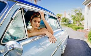 Картинка авто, взгляд, девушка, руки, макияж, Kathleen Lights