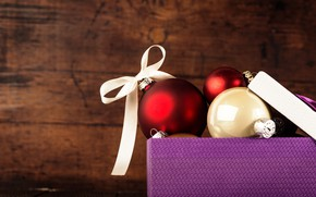 Картинка праздник, коробка, шары, Новый год, украшение, Valeria Aksakova