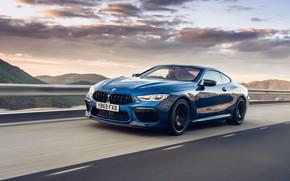 Картинка скорость, вечер, BMW, Coupe, Competition, UK-Spec, 2019, BMW M8, F92