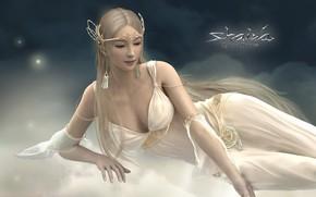 Обои фон, фантастика, эльфийка, картинка, богиня Дрейда, Светлый альянс, Shaiya: Light and Darkness, мир фэнтези