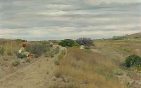 Картинка пейзаж, картина, Уильям Чейз, William Merritt Chase, Старая Песчаная Дорога