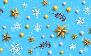 Картинка зима, снежинки, фон, голубой, Christmas, blue, winter, background, snowflakes, decoration