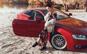 Картинка машина, поза, Audi, волосы, Девушка, платье, Belavin, Александр Белавин