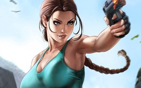 Картинка девушка, Tomb Raider, girl, art, Lara Croft, by Dandonfuga