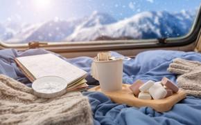 Картинка снег, горы, уют, чай, карта, окно, компас, зефир