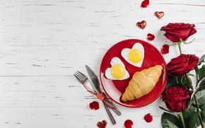 Картинка любовь, розы, завтрак, сердечки, love, romantic, hearts, valentine, круассаны, croissant, breakfast, petals, roses, kttcnrb