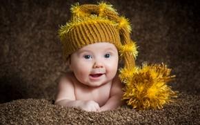 Картинка взгляд, ребенок, шапочка, младенец