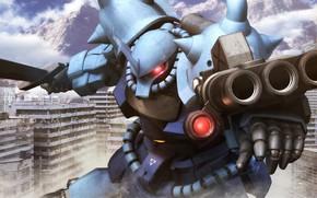 Картинка город, оружие, робот, пыль, Mobile Suit Gundam