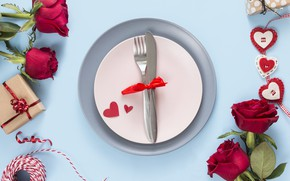 Картинка цветы, подарок, розы, красные, red, love, heart, flowers, romantic, valentine's day, roses, gift box
