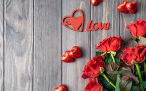 Картинка Love, розы, конфеты, romantic, День Валентина, сердеччки