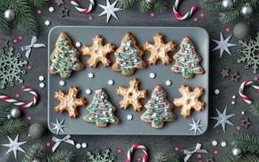 Картинка украшения, Новый Год, Рождество, christmas, wood, merry, cookies, decoration, пряники, gingerbread, fir tree, ветки ели