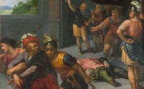 Картинка масло, картина, 1613, Отто ван Веен, Otto van Veen, Усекновение Главы Julius Paulus и Взятие …