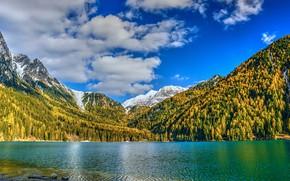 Картинка осень, лес, облака, снег, горы, озеро, синева, берег, склоны, вершины, желтые, контраст, яркие цвета, водоем, …