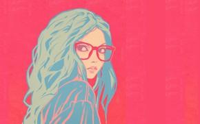 Картинка лицо, очки, розовый фон, плечо, голубые волосы, портрет девушки, вьющиеся волосы, Илья Кувшинов