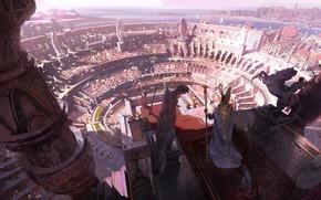 Картинка fantasy, people, crowd, Arena, digital art, artwork, fantasy art, illustration, statues, scepter, emperor