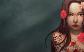 Картинка Girl, skull, rose, long hair, minimalism, brown eyes, flowers, tattoo, lips, brunette, digital art, artwork, …