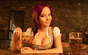 Картинка girl, sexy, cleavage, long hair, dress, boobs, beautiful, model, pretty, redhead, breasts, attractive, handsome, oktoberfest, …