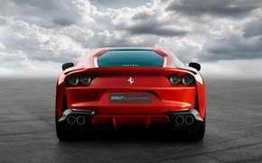 Картинка Ferrari, суперкар, вид сзади, Superfast, 812