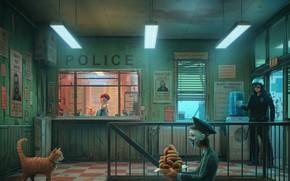 Картинка Юмор, Полиция, Кот, Стиль, Маска, Арт, Art, Police, Style, Cat, Коп, Пончики, Room, Помещение, Mask, …