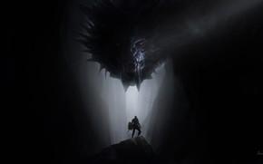 Картинка Дракон, Монстр, Пещера, Fantasy, Dragon, Monster, Art, Рыцарь, Фантастика, Knight, Cave, Луч, Amit Naik, by …