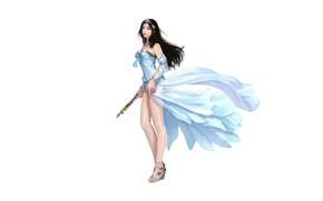 Картинка Girl, Art, Asian, Style, Background, Illustration, Minimalism, Dress, Figure, Character, Pretty Woman, Hotduck Yoon, Clan …