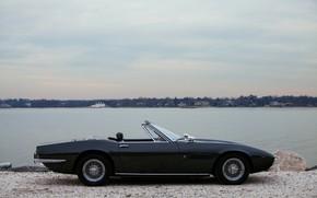 Картинка чёрный, Maserati, 1969, родстер, вид сбоку, спайдер, Ghibli Spider