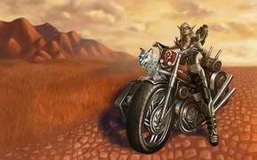 Картинка девушка, животное, фэнтези, мотоцикл, эльфийка