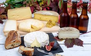 Картинка листья, ветки, стол, доски, хлеб, виноград, нож, бутылки, сыры, инжир