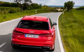 Картинка дорога, красный, Audi, универсал, корма, 2019, A6 Avant, S6 Avant