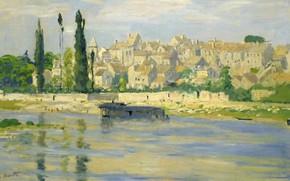 Картинка пейзаж, город, река, дома, картина, живопись, клод моне