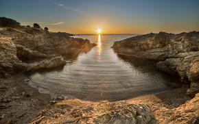 Картинка пейзаж, закат, природа, побережье, красота