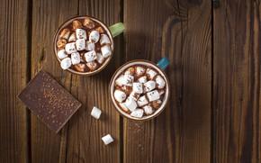 Картинка шоколад, кружки, маршмеллоу