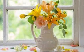 Картинка цветы, лилии, розы, окно, ваза