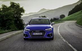 Картинка синий, Audi, седан, спереди, Audi A4, Audi S4, 2019