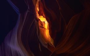Картинка линии, темный фон, подсветка, каньон, пещера, Каньон Антилопы, рельеф, грот