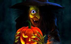 Картинка ночь, ведьма, старуха, светильник Джека