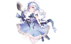 Картинка аниме, девочка, белый фон